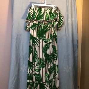 Off the shoulder, tropical maxi dress